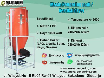 vertical dryer, alat vertical dryer, mesin vertical dryer